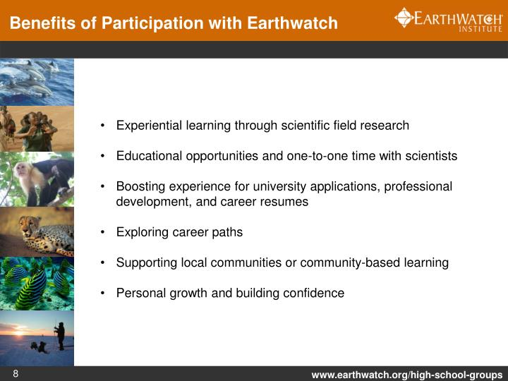 Benefits of Participation with Earthwatch