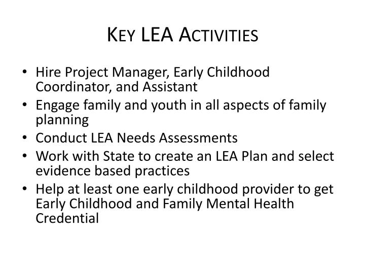 Key LEA Activities