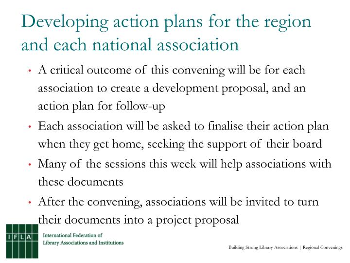 Developing action plans for the region and each national