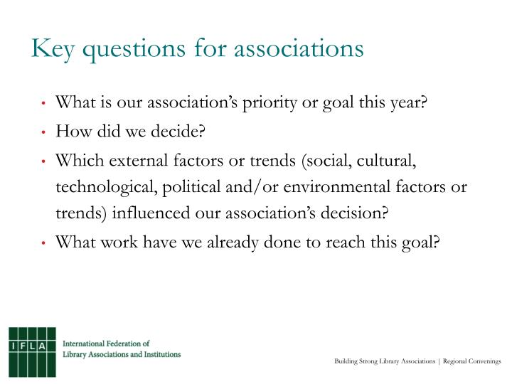 Key questions for associations