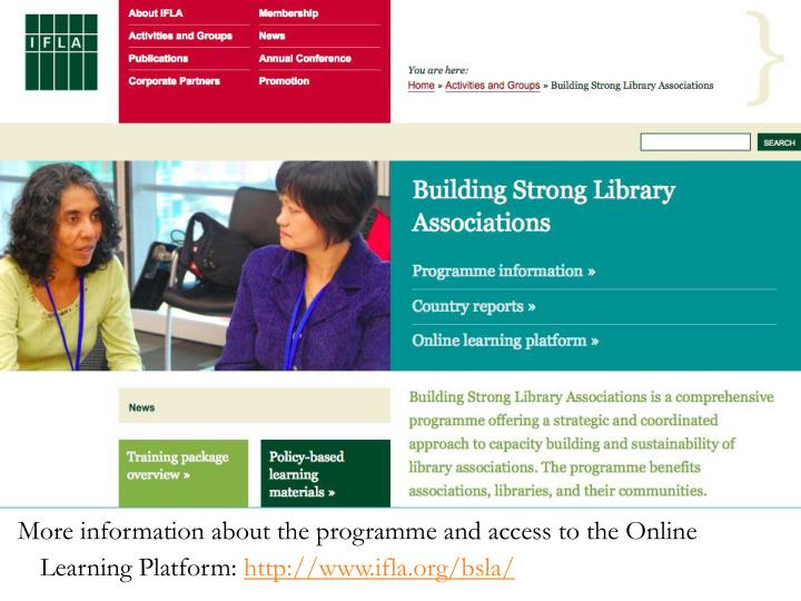 More information about the programme and access to the Online Learning Platform: