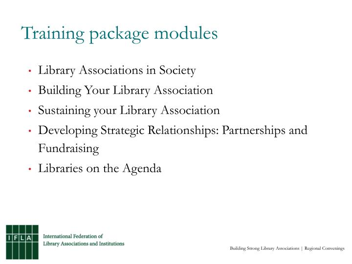 Training package modules