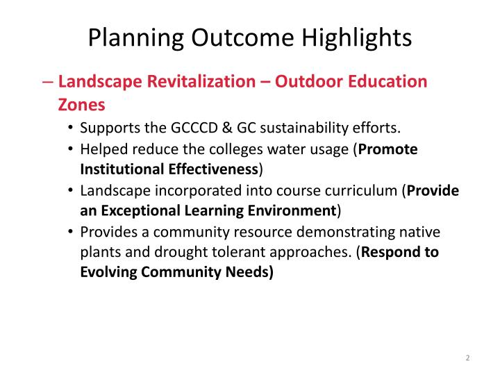 Planning Outcome Highlights