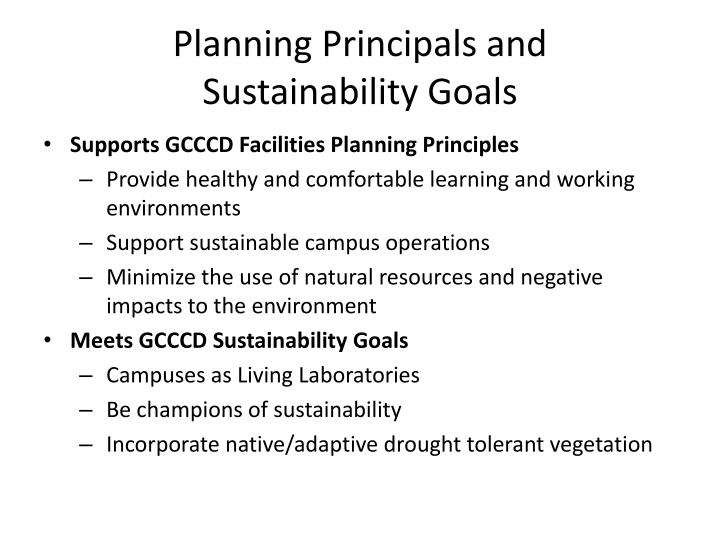 Planning principals and sustainability goals