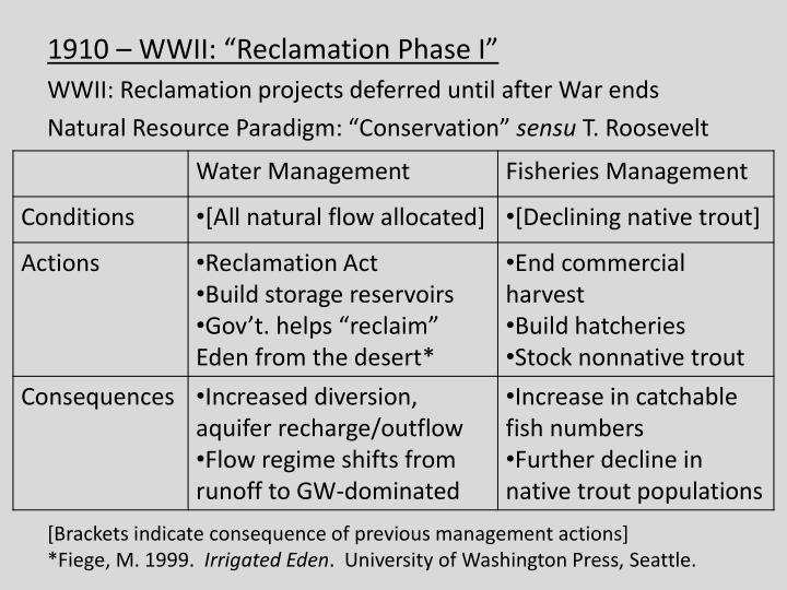 "1910 – WWII: ""Reclamation Phase I"""