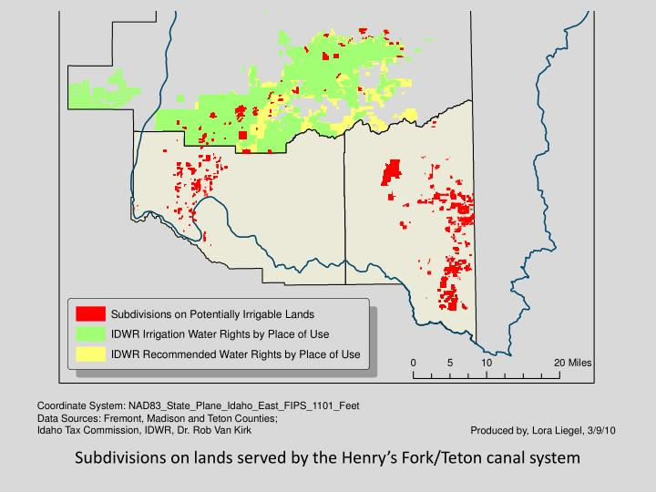 Subdivisions on lands served by the Henry's Fork/Teton canal system