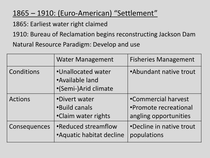 "1865 – 1910: (Euro-American) ""Settlement"""