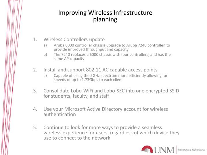Improving Wireless Infrastructure