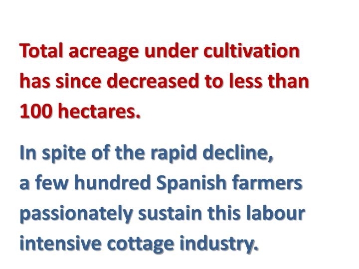 Total acreage under cultivation has since decreased to less than 100 hectares.