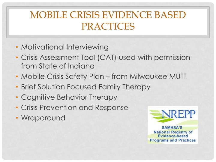 Mobile Crisis Evidence Based Practices