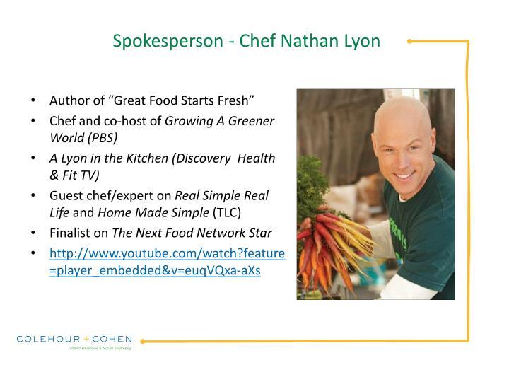Spokesperson - Chef Nathan Lyon