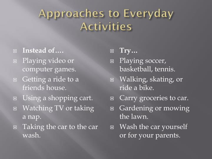 Approaches to Everyday Activities