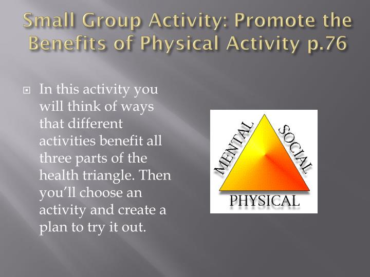 Small Group Activity: Promote the Benefits of Physical Activity p.76