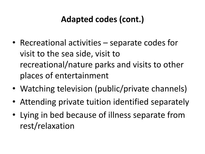 Adapted codes (cont.)