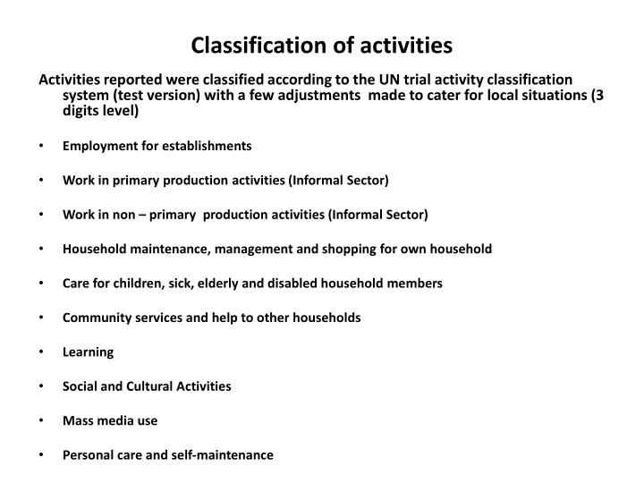 Classification of activities