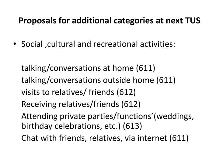 Proposals for additional categories at next TUS