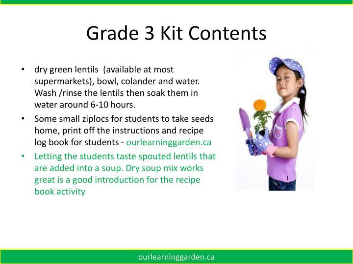 Grade 3 Kit Contents