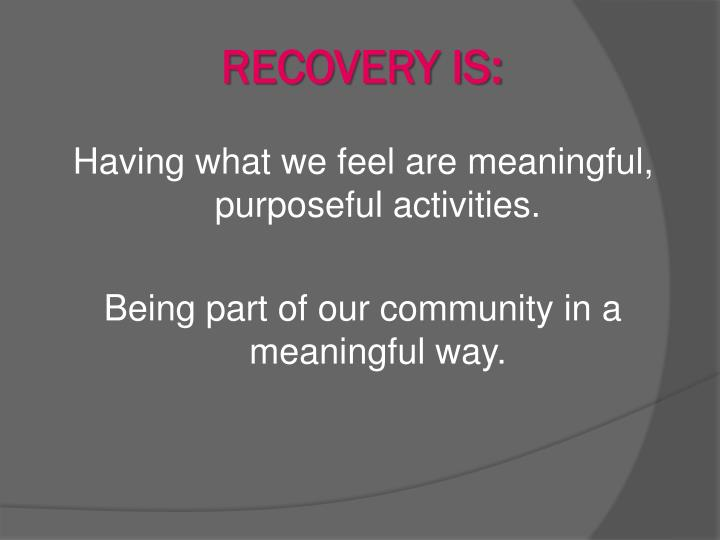 RECOVERY IS:
