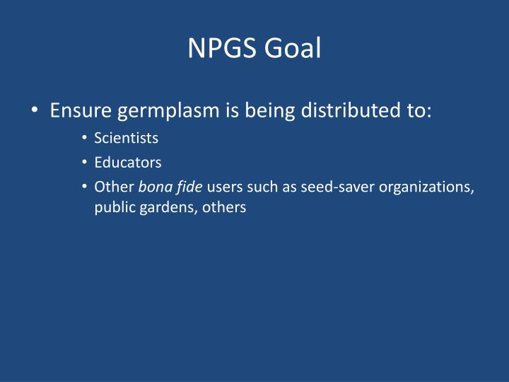 NPGS Goal