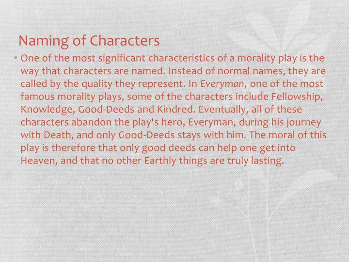 Naming of Characters