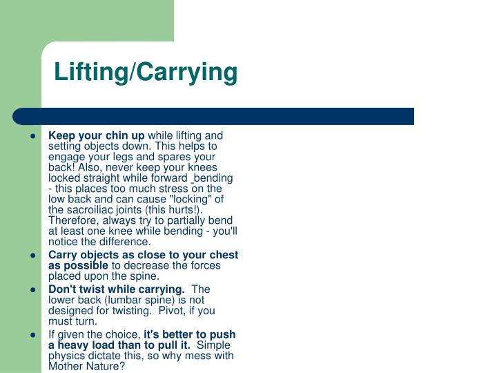 Lifting/Carrying