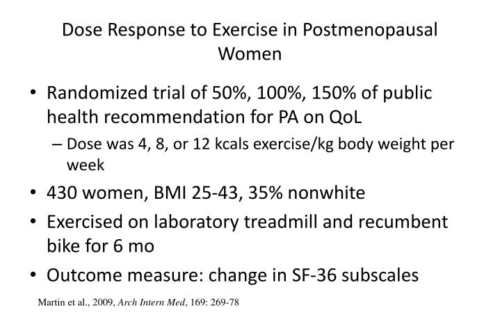 Dose Response to Exercise in Postmenopausal Women