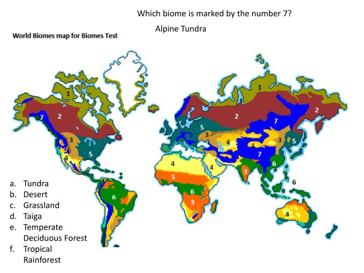 Which biome is marked by the number 7?