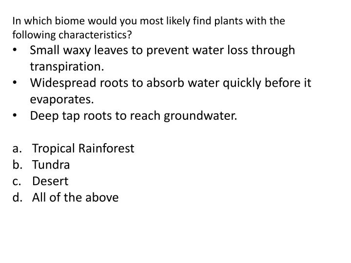 In which biome would you most likely find plants with the following characteristics?