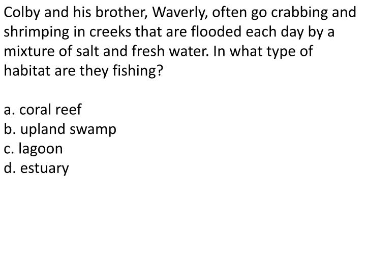 Colby and his brother, Waverly, often go crabbing and