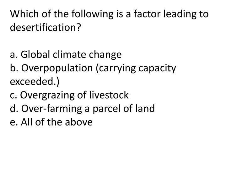 Which of the following is a factor leading to desertification?