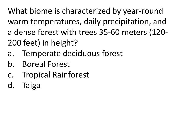 What biome is characterized by year-round warm temperatures, daily precipitation, and a dense forest with trees 35-60 meters (120-200 feet) in height?