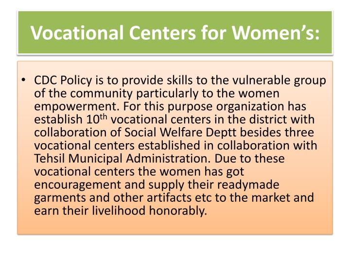 Vocational Centers for Women's:
