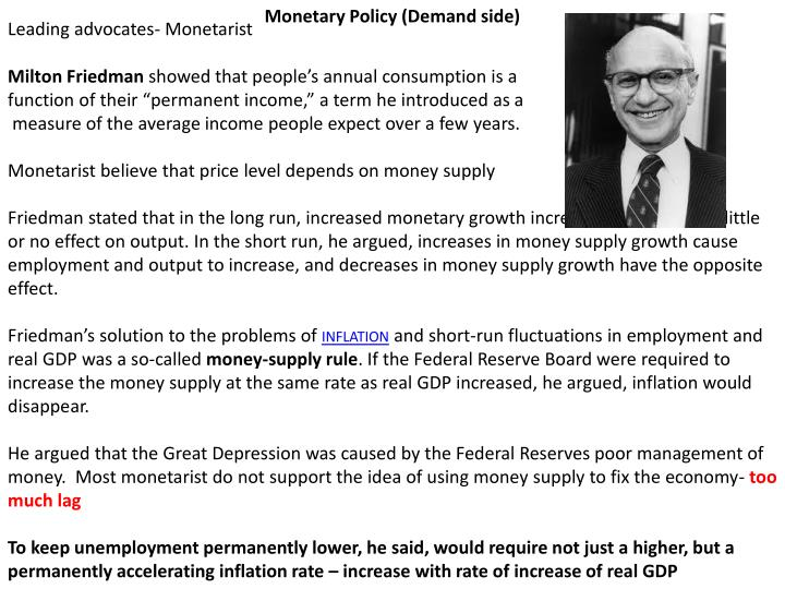Monetary Policy (Demand side)