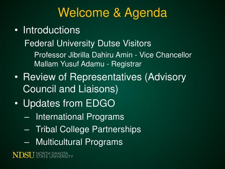 Welcome & Agenda