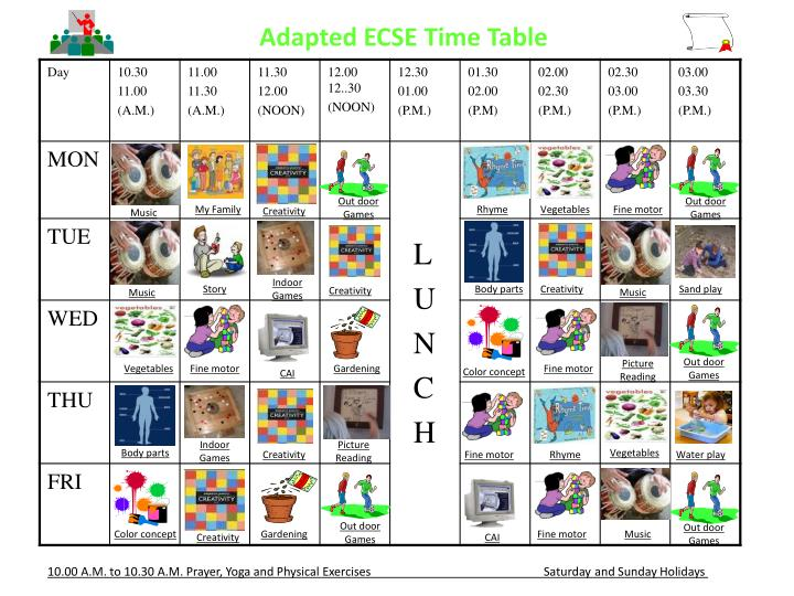 Adapted ECSE Time Table
