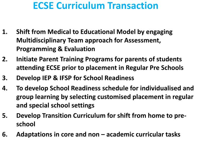 ECSE Curriculum Transaction