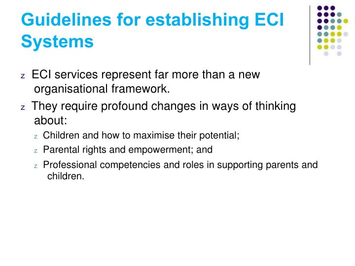 Guidelines for establishing ECI