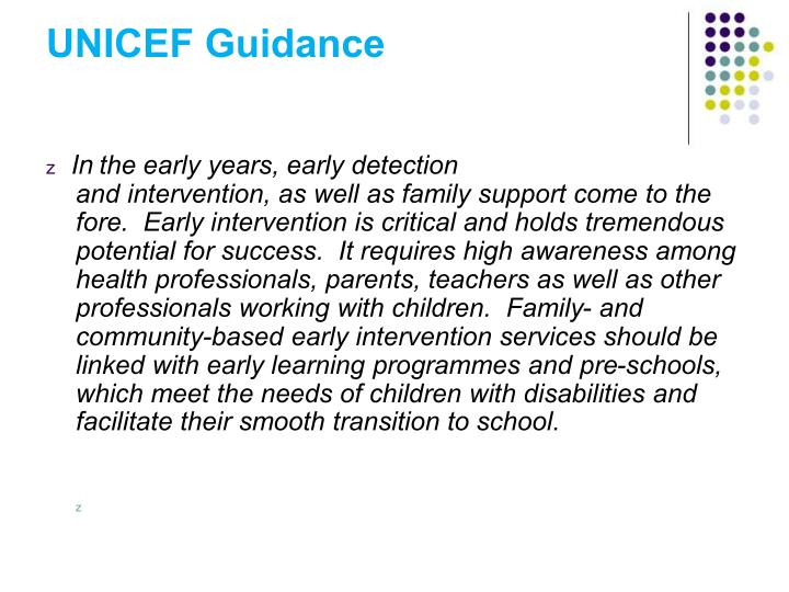UNICEF Guidance