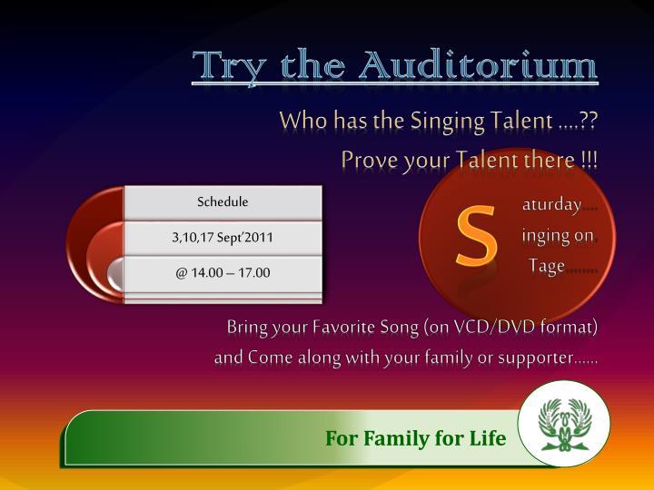 Try the Auditorium
