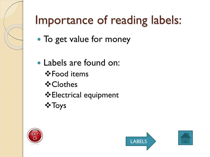 Importance of reading labels: