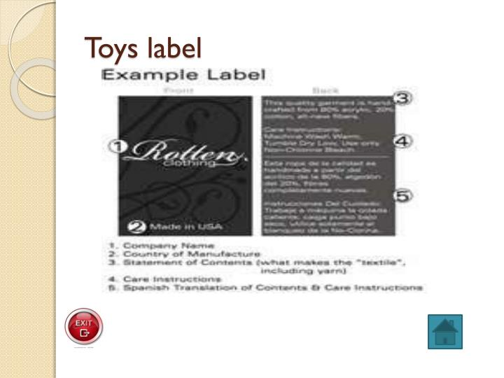 Toys label