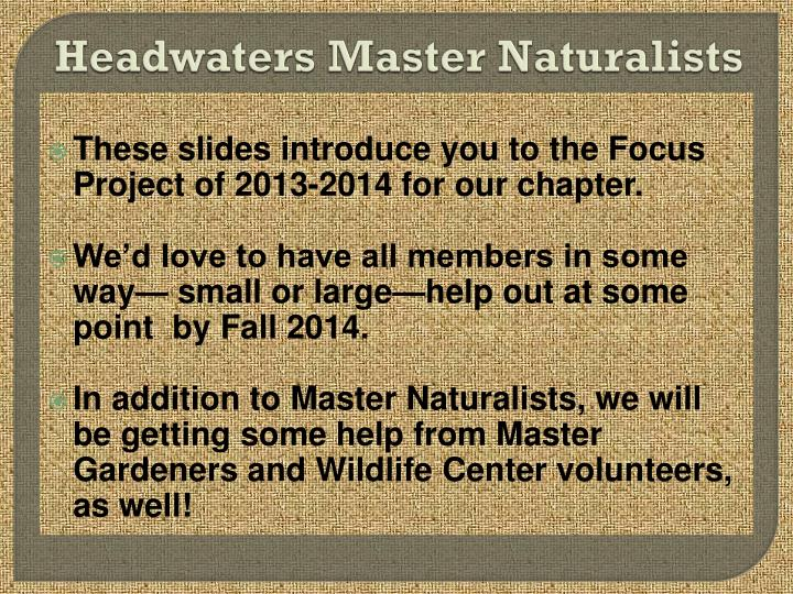 Headwaters Master Naturalists