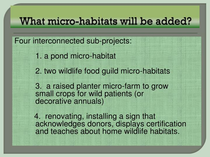 What micro-habitats will be added?