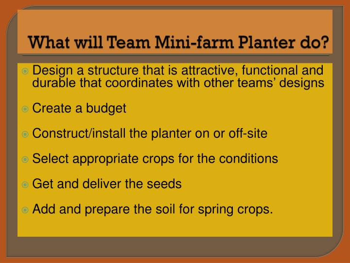 What will Team Mini-farm Planter do?