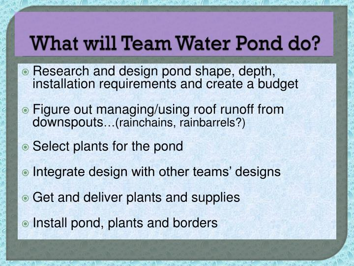 What will Team Water Pond do?