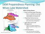 dem preparedness planning old wives lake watershed