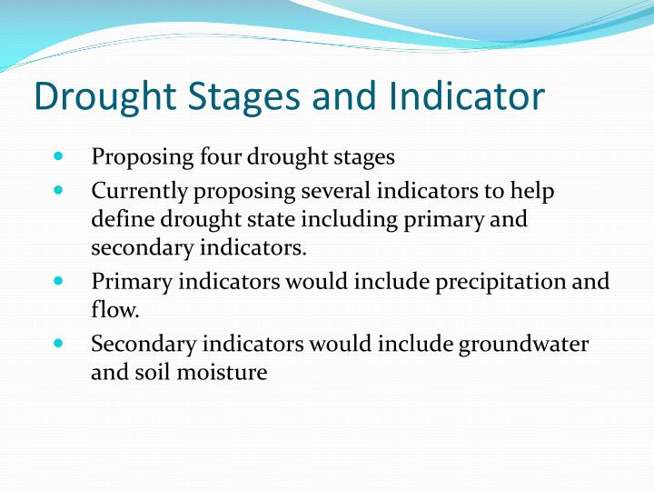 Drought Stages and Indicator