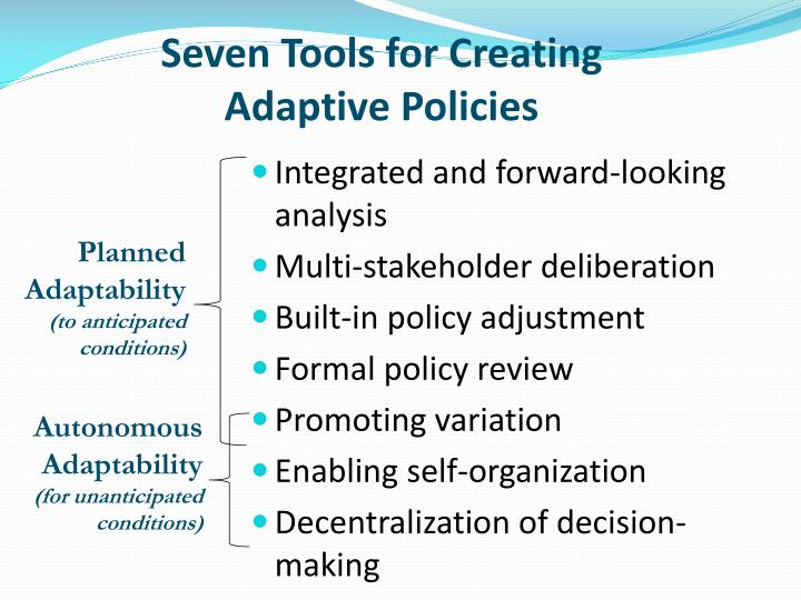 Seven Tools for Creating Adaptive Policies
