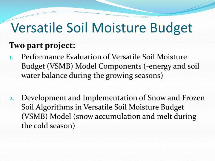 Versatile Soil Moisture Budget