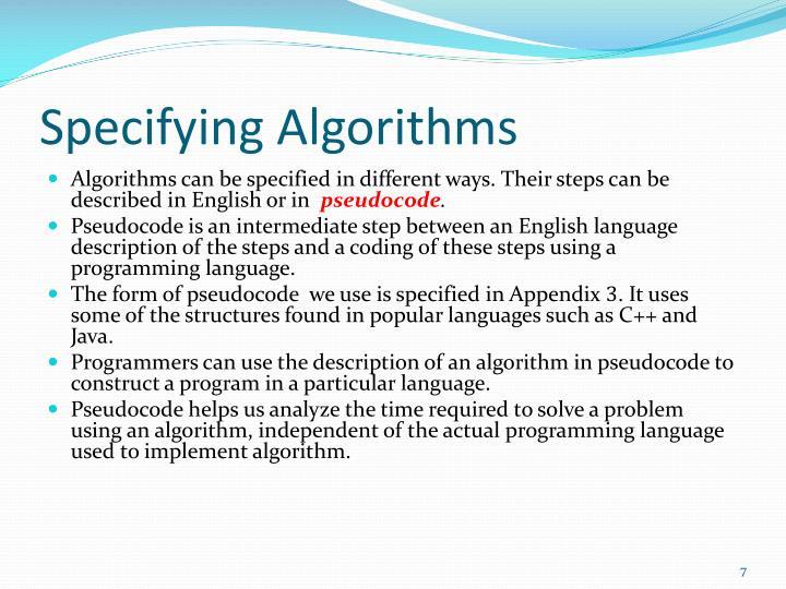 Specifying Algorithms